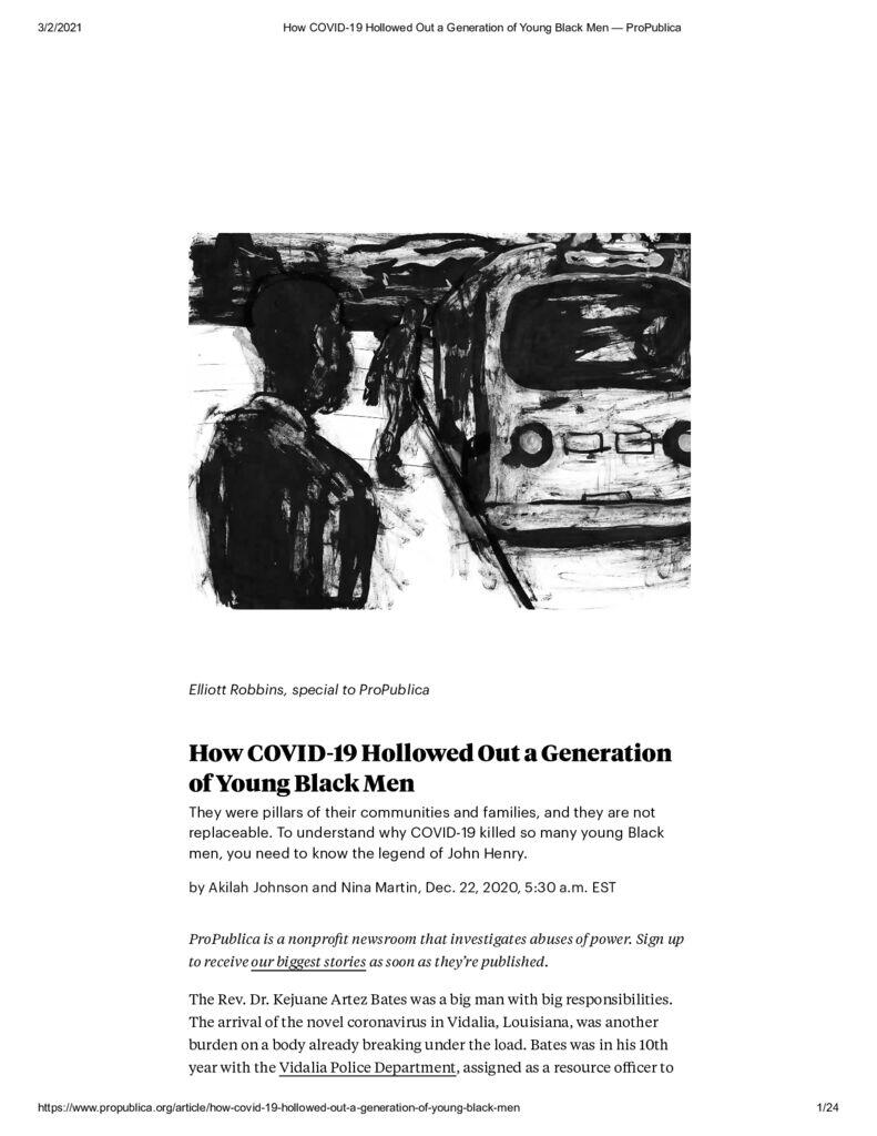 thumbnail of How COVID-19 Hollowed Out a Generation of Young Black Men — ProPublica