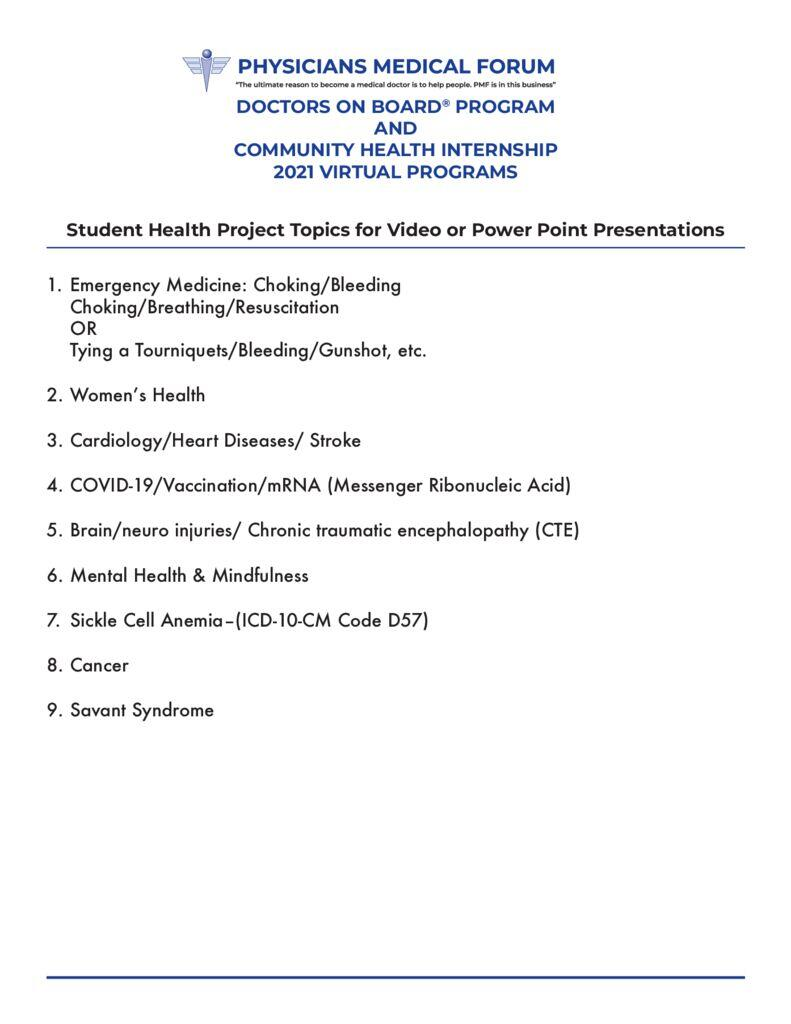thumbnail of PMF 2021 DOB Project Tips – Student Project Health Topics