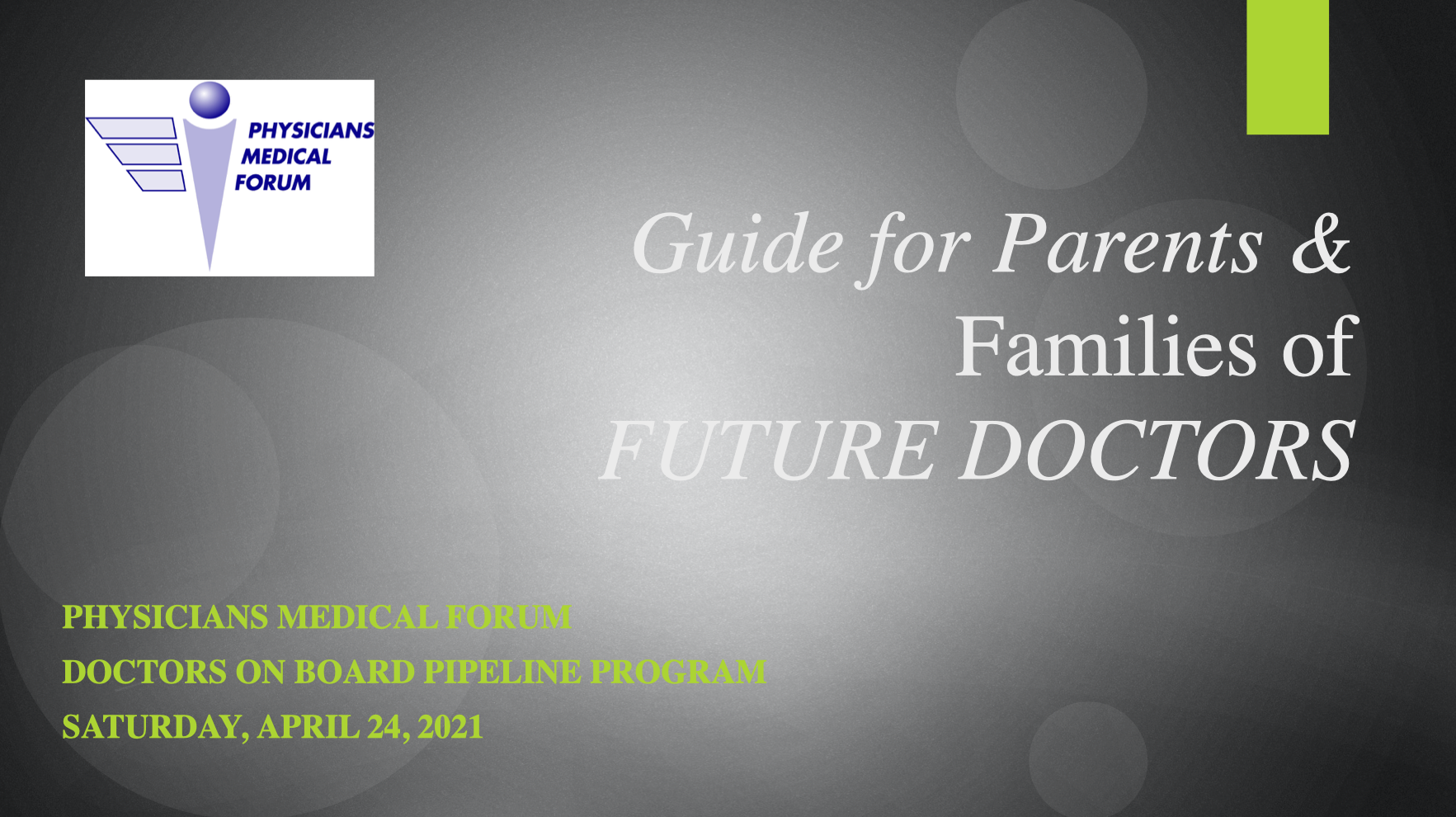 Guide for Parents and Families of Future Doctors